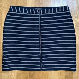 NWT the Limited striped front zip skirt